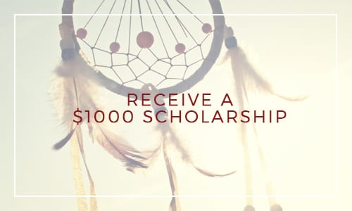 "First Nation dreamcatcher with statement ""Receive a $1000 scholarship"