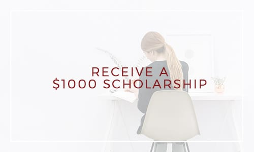 "A woman is sitting at a desk with her back to you and the text over the image says ""Receive a $1000 scholarship"""